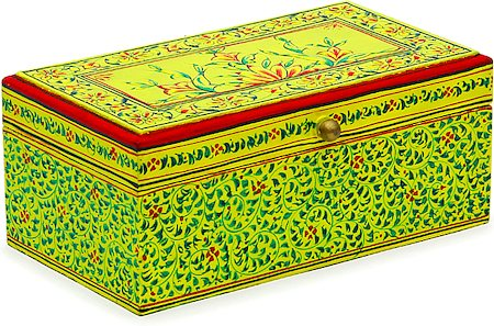 Kaushalam Hand-Painted Tea Box - Yellow