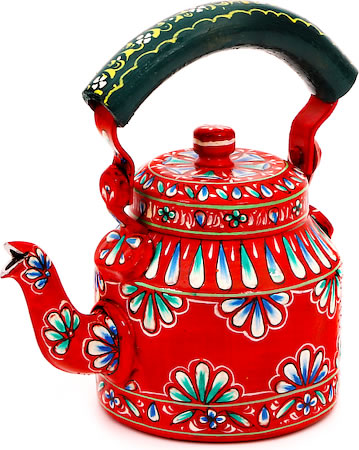 Kaushalam Hand-Painted Tea Kettle, Small - Red and Green