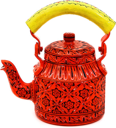 Kaushalam Hand-Painted Tea Kettle, Small - Orange