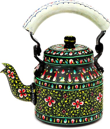 Kaushalam Hand-Painted Tea Kettle, Small - Black and White