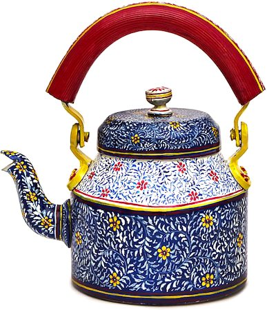 Kaushalam Hand-Painted Tea Kettle, Large - Blue and Red