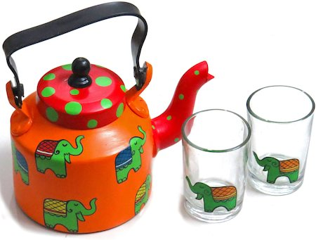 ScrapShala Hand-Painted Tea Kettle and Glass, Ethnic Desi Elephant - Orange and Red