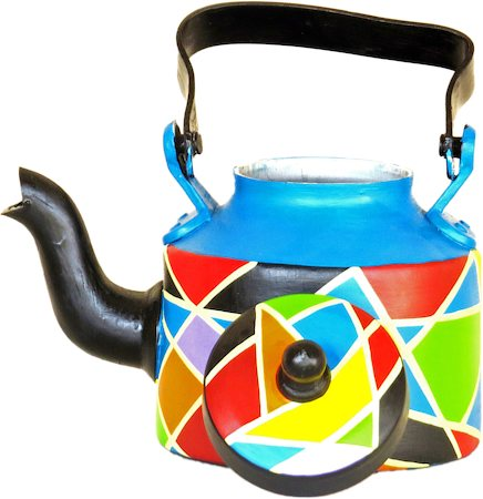 ScrapShala Hand-Painted Tea Kettle, Abstract Design - Multi-color