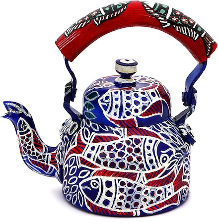 Kaushalam Hand-Painted Tea Kettle with Fish Decoration, Small