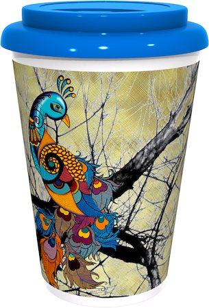 Kolorobia Lovely Peacock Cream Cafe Mug