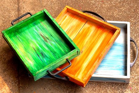 ScrapShala Hand-Painted Distressed Wooden Tray - 3 pcs