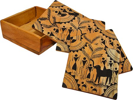 ARMS Wooden Hand-Painted Orissa Saura Coasters - set of 5