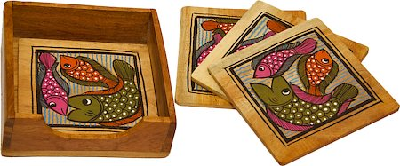 ARMS Wooden Hand-Painted Fish Coasters - set of 5