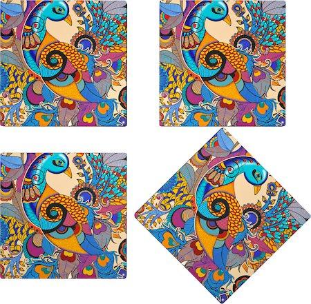 Kolorobia Colorful Peacock Glass Coasters - set of 4