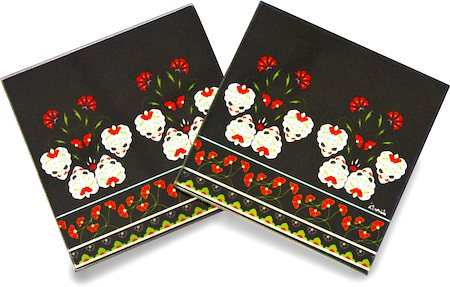 Kolorobia White Flowers Turkish Wooden Coasters - set of 4