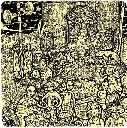 Posterboy Charbak Alien Durga Puja Coasters - set of 4