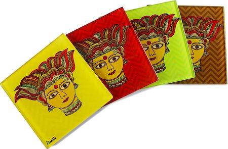 Kolorobia Traditional Madhubani Wooden Coasters - set of 4
