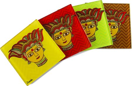 Kolorobia Traditional Madhubani Glass Coasters - set of 4
