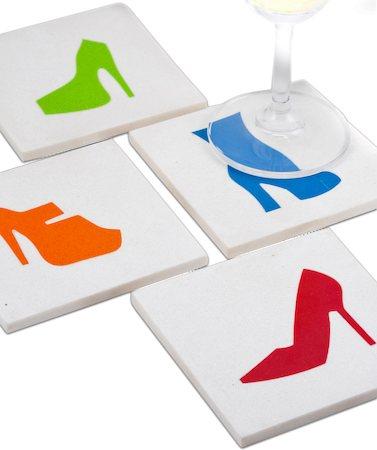 Amalgam Hand-crafted Stiletoes Collection White Marble Coasters - set of 4