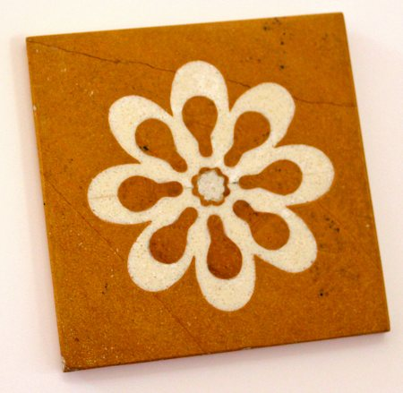 Amalgam Hand-carved Flowering Collection Motif Stone Square Coasters - set of 4