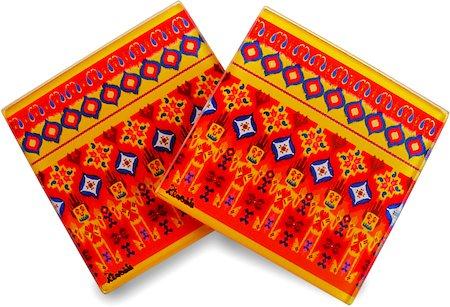 Kolorobia Colourful Ikat Glass Coasters - set of 4