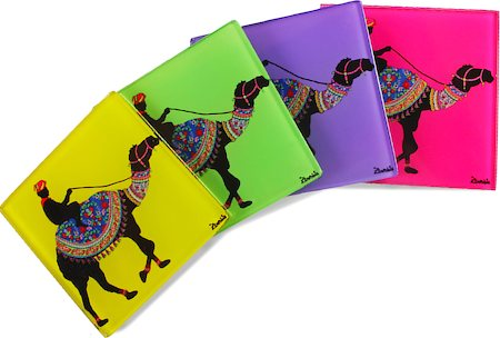 Kolorobia Artified Camel Glass Coasters - set of 4