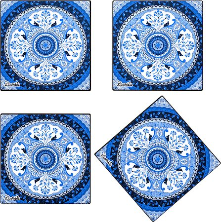 Kolorobia Turkish Blue Glass Coasters - set of 4