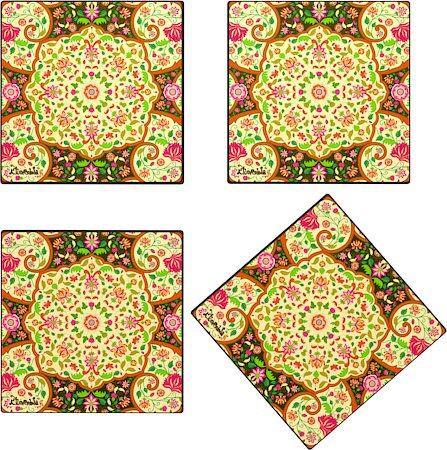 Kolorobia Mesmerizing Mughal Glass Coasters - set of 4