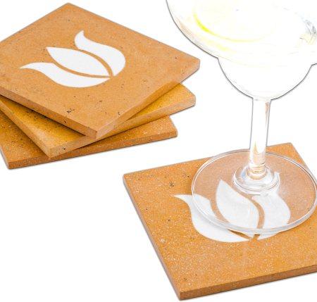 Amalgam Hand-carved Virtuous Lotus Motif Stone Square Coasters - set of 4