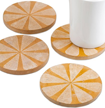 Amalgam Hand-carved Scratched and Scraped Petal Stone Coasters (Yellow) - set of 4