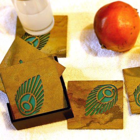 Amalgam The Flowering Feather Coasters (Turqoise) - set of 4
