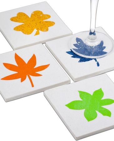 Amalgam Hand-crafted Leafy Lot White Marble Coasters - set of 4