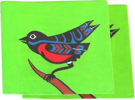 ScrapShala Hand-Painted Ethnic Bird Theme Glass Coasters - set of 2