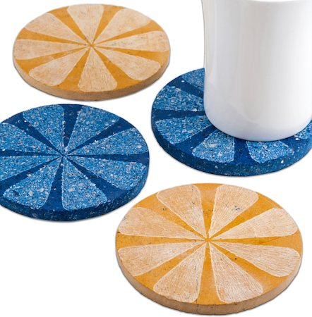 Amalgam Hand-carved Scratched and Scraped Petal Stone Coasters (Yellow, Blue) - set of 4