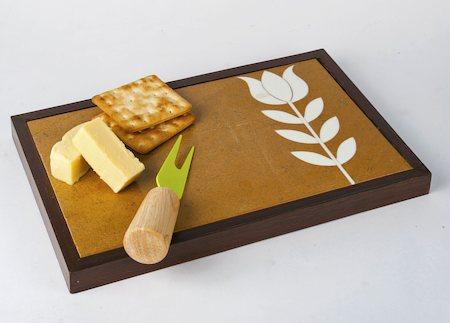 Amalgam Hand-carved Customary Lotus Motif Rectangular Stone Platter