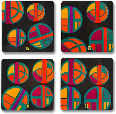 MadCap Vibrance Cork Coasters - set of 4