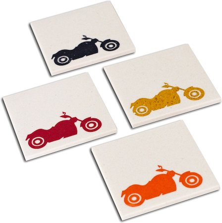 Amalgam Hand-crafted Bikers Collection White Marble Coasters - set of 4