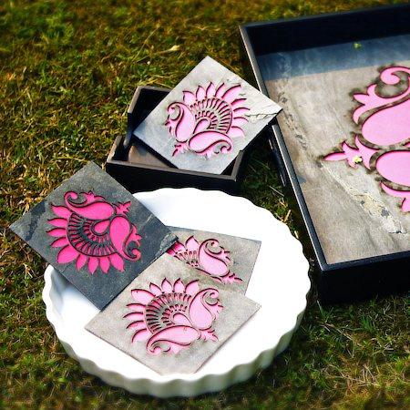 Amalgam The Lively Lotus Coasters (Pink) - set of 4