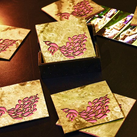 Amalgam The Dandy Peacock Coasters (Pink) - set of 4
