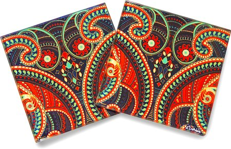 Kolorobia Illuminating Paisley Glass Coasters - set of 4