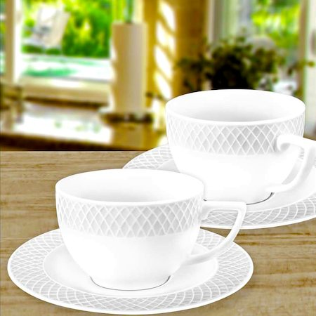 Wilmax ENGLAND Fine Porcelain Julia Tea Cup, 240 ml and Saucer (White) - set of 6