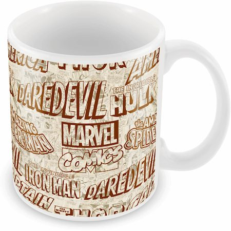 Marvel Comics All Logos Black Ceramic Mug