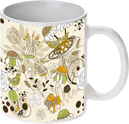 Prithish Floral With Birds White Mug