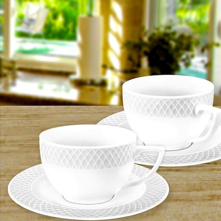 Wilmax ENGLAND Fine Porcelain Julia Cappuccino Cup, 170 ml and Saucer (White) - set of 6