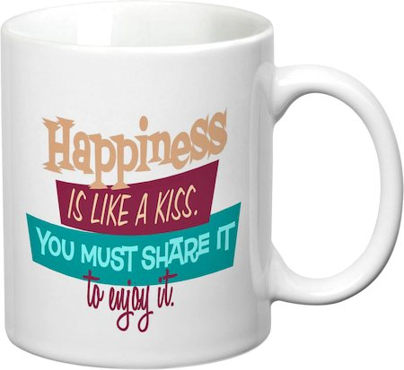 Prithish Happiness Is Like A Kiss White Mug