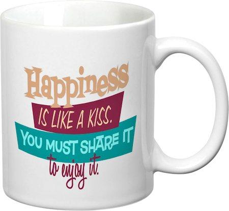 Prithish Happiness Is Like A Kiss White Mug