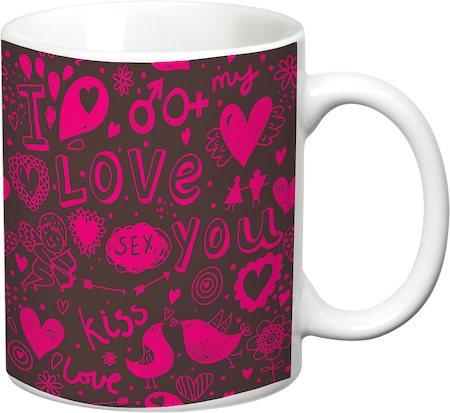 Prithish I Love You Floral White Mug
