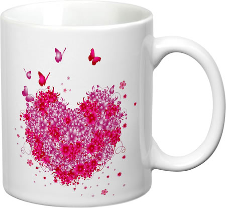 Prithish Floral Heart With Butterflies White Mug