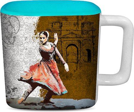 ThinNFat Bharat Natiyam Printed Designer Square Mug - Sky Blue