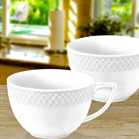 Wilmax ENGLAND Fine Porcelain Julia Jumbo Mug, 500 ml (White) - set of 2