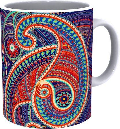 Kolorobia Artistic Paisley White Mug