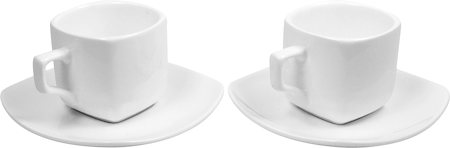 Wilmax ENGLAND Fine Porcelain Tea Cup and Saucer, 200 ml (White) - set of 2