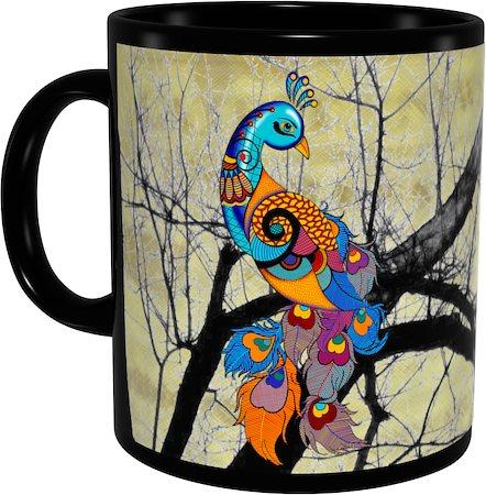 Kolorobia Graceful Peacock Classic Black Mug