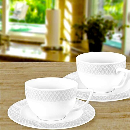 Wilmax England Fine Porcelain Julia Coffee Cup 90 Ml And Saucer White Set Of 6