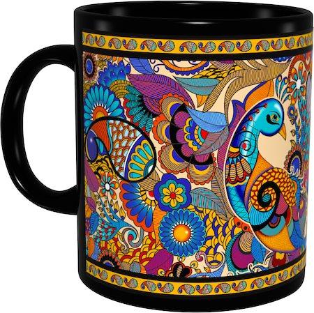 Kolorobia Colourful Peacock Classic Black Mug